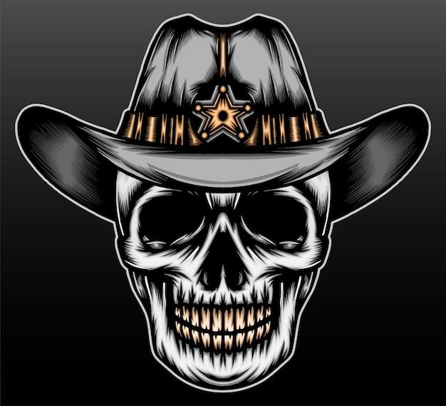 Crâne de cow-boy isolé sur fond noir