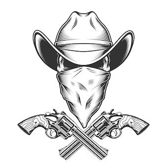Crâne de cowboy monochrome vintage