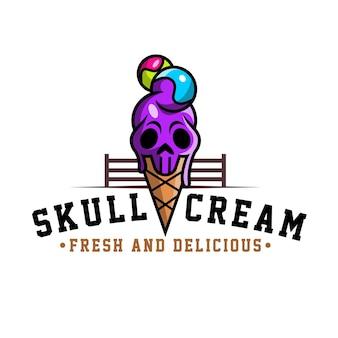 Crâne de crème glacée de logo pour les boissons et la nourriture de restaurants