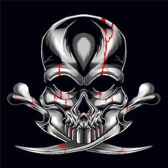 Le Crâne Crossbone Vecteur Premium