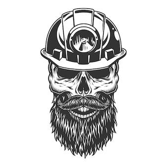 Crâne dans le casque du mineur