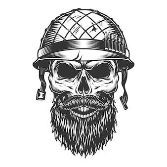 Crâne dans le casque du soldat