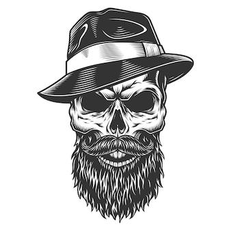 Crâne dans le chapeau fedora