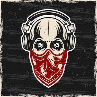 Crâne dans les écouteurs et bandana rouge sur l'illustration colorée de vecteur de visage avec des textures grunge