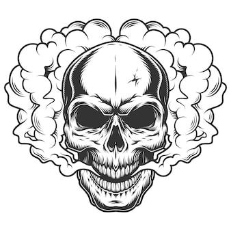 Crâne dans la fumée