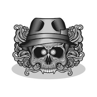 Crâne dans l'illustration de nuage de chapeau