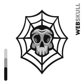 Crâne dans l'illustration de la toile d'araignée