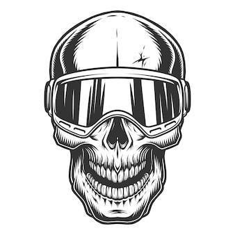 Crâne dans les lunettes de ski