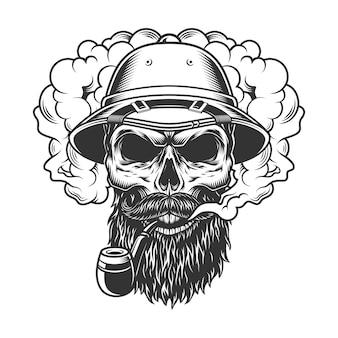 Crâne dans un nuage de fumée