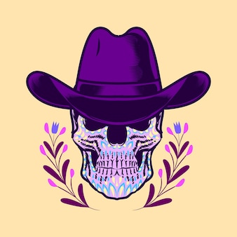 Crâne décoratif tête de cow-boy jour des morts mexique illustration