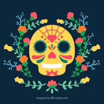 Crâne avec des décorations florales