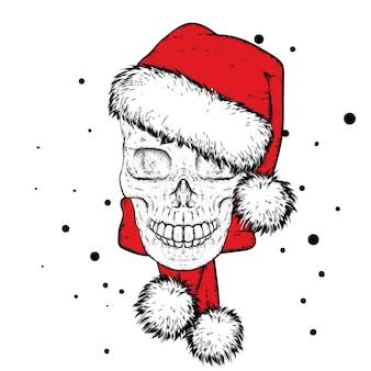 Crâne avec décorations de noël et nouvel an