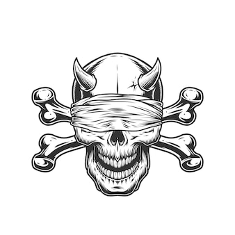 Crâne de démon avec bandeau et os croisés