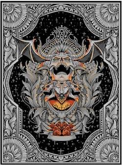 Crâne de démon effrayant avec flamme de gravure vintahe