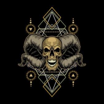 Crâne de démon géométrie sacrée