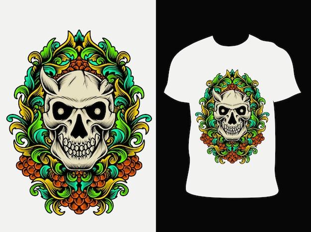 Crâne de démon illustration avec gravure ornement coloré