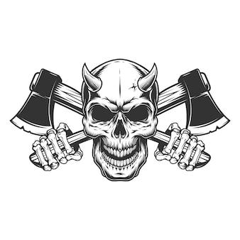 Crâne de démon monochrome vintage avec des cornes