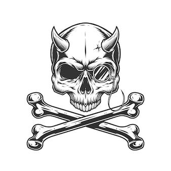 Crâne de démon monochrome vintage sans mâchoire
