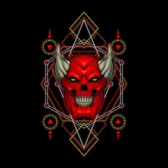 Crâne de démon rouge géométrie sacrée