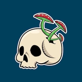 Crâne avec un design de t-shirt aux champignons