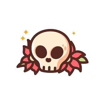 Crâne de dessin animé avec une conception de tatouage traditionnel de fleur rouge dans un style simple et mignon clipart isolé malade