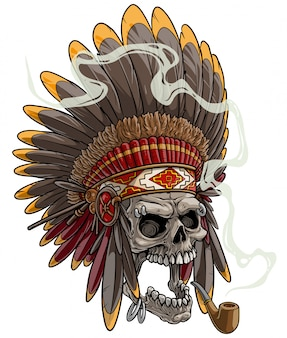 Crâne de dessin animé dans la coiffe de chef indien américain