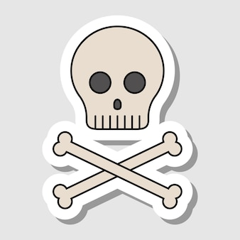 Crâne de dessin animé de vecteur avec autocollant d'os contours isolés des os humains