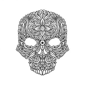 Crâne avec dessin floral