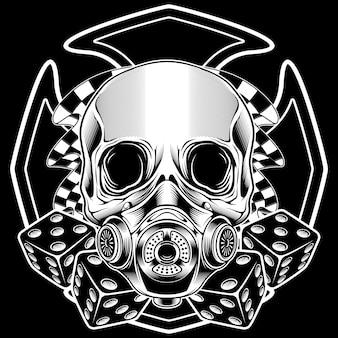 Crâne avec dessin à la main de drapeau de course