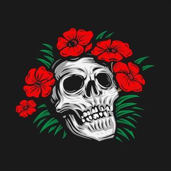 Crâne de dessin à la main entouré d'illustration vectorielle fleur rose