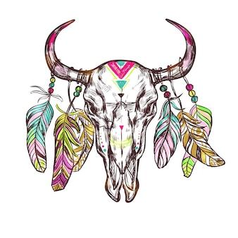 Crâne dessiné fleurs boho