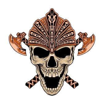 Crâne dessiné à la main avec une hache