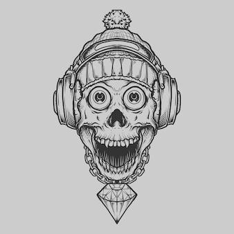 Crâne dessiné à la main en noir et blanc avec écouteurs de chapeau d'hiver et ornement de gravure de diamant