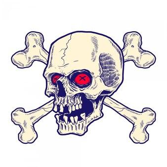 Crâne dessiné à la main avec des os croisés derrière