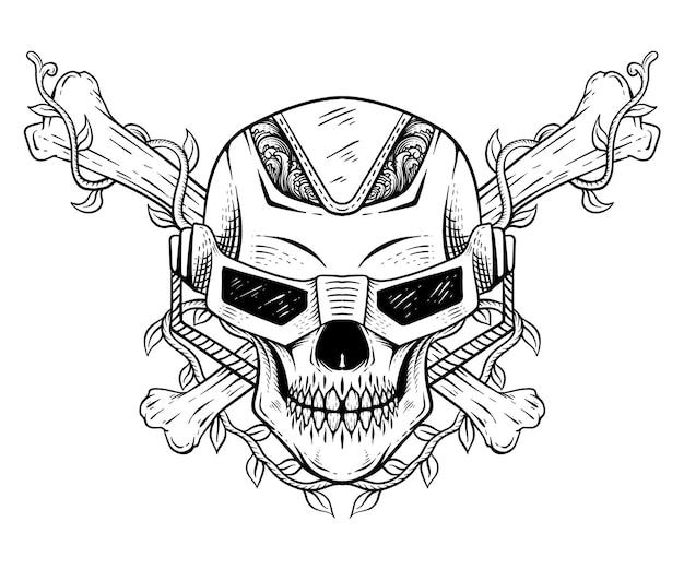 Crâne dessiné à la main robotique avec dessin au trait osseux noir et blanc