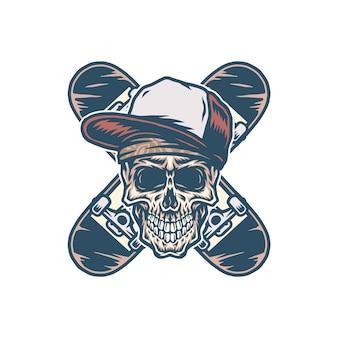 Crâne et deux planches à roulettes croisées, ligne dessinée à la main avec couleur numérique, illustration