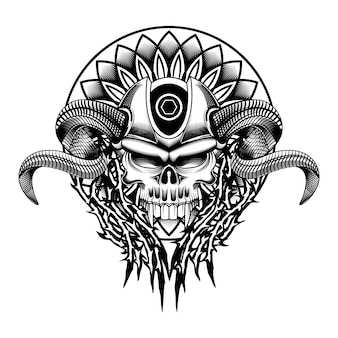 Crâne diable fond de mandala