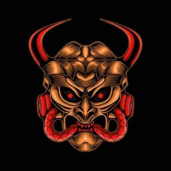 Crâne de diable mecha isolé sur noir