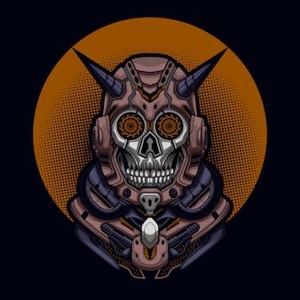 Crâne De Diable Mecha Vecteur Premium