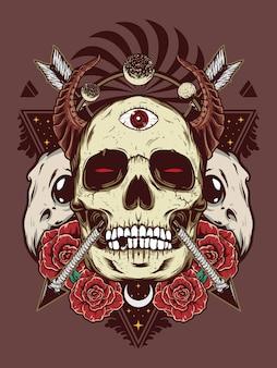 Crâne de diable pour la conception de la chemise
