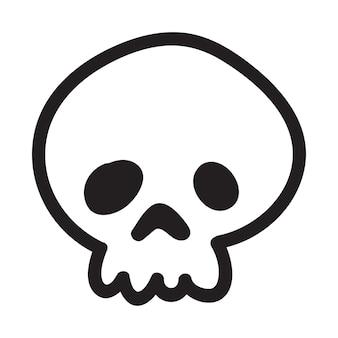 Crâne de doodle cartoon dessiné à la main. crâne de drôle de bande dessinée isolé sur fond blanc. illustration vectorielle.