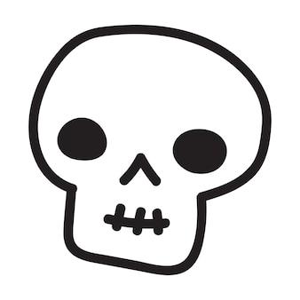 Crâne de doodle cartoon dessiné à la main. crâne de drôle de bande dessinée isolé sur fond blanc.