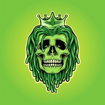 Crâne de dreadlocks avec logo de mascotte de couronne de mauvaises herbes