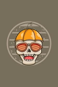 Crâne drôle et mignon avec des lunettes illustration vintage