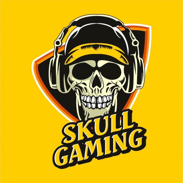 Crâne écouteur esports gaming logo animaux