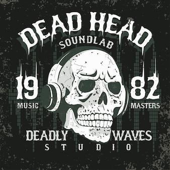 Crâne avec des écouteurs