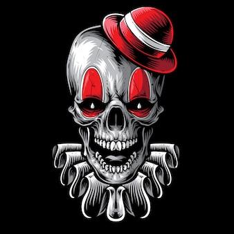 Crâne effrayant art de vecteur de clown