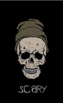 Crâne effrayant au chapeau sur fond noir.