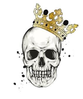 Crâne effrayant avec couronne halloween et automne