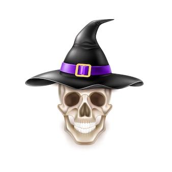 Crâne d'élément halloween heureux vecteur en chapeau de sorcière